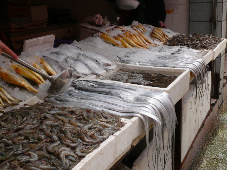 photo of fish market wares